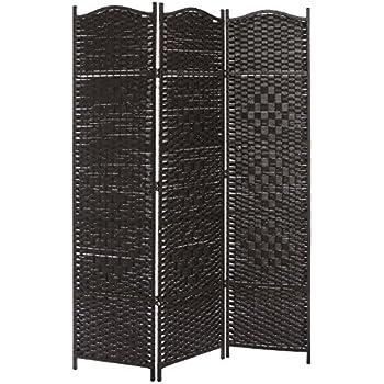 3 Panel Dark Brown Wood Bamboo Woven Room Divider Decorative Indoor Folding Screens