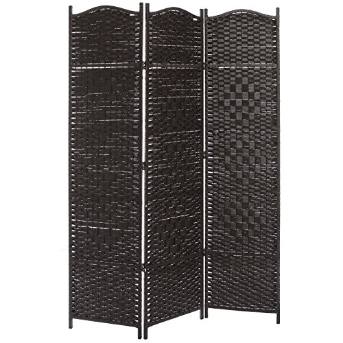 MyGift 3 Panel Dark Brown Wood & Bamboo Woven Room Divider, Decorative Indoor Folding Screens