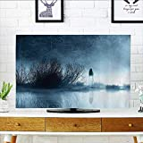tv dust Cover mMysterious Women in Foggy Forest Bushes Nightmare Haze Lady Scary Hell Artwork Dust Resistant Television Protector W35 x H55 INCH/TV 60'