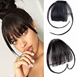 Reysaina Fringe Hair Extensions Real Human Hair Hand Tied Bangs with Temples Hair Accessories For Women ( #1B Natural Black )