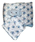 Plush Custom Embroidery Name Baby Blanket (30 x 40 inch) With Lovey Blanket - Excellent Gift Idea (Blank Blue Elephant)
