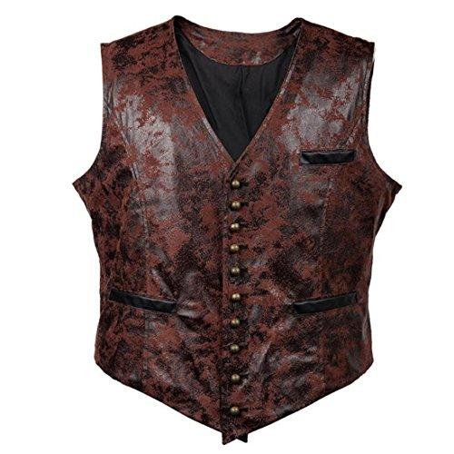 Sex icon Man Retro Punk Wind Leather Cowboy Jacket Vest (XXL, Wine red)