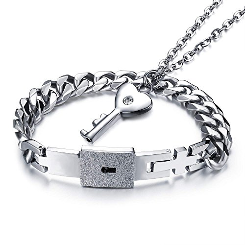 MENILITHS Jewelry Titanium Steel Love Heart Lock Bangle Matching Key Pendant Necklace Couples