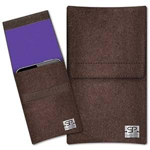 SIMON PIKE Cáscara Funda de móvil Sidney 5 marrón Samsung Chat ch@t 350 C3500 Fieltro de lana