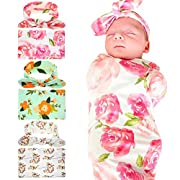 Bigface Up Receiving Blankets,Newborn Baby Sleep Blanket with Headband (Pink+Green+White)