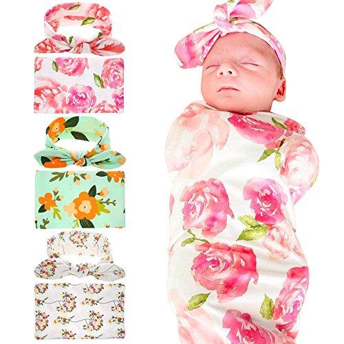 Bigface Up Receiving Blankets,Newborn Baby Sleep Blanket With Headband (Pink+Green+White)