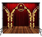 Stage Backdrop with Gold 10X10ft Form Backdrop Wood Floor with Red Backdrops Studio Booth Photo Background Event Photo Props