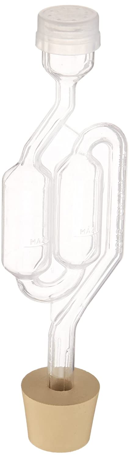 S-Shape Bubble Airlock with #6 Stopper (Pack of 6 each)