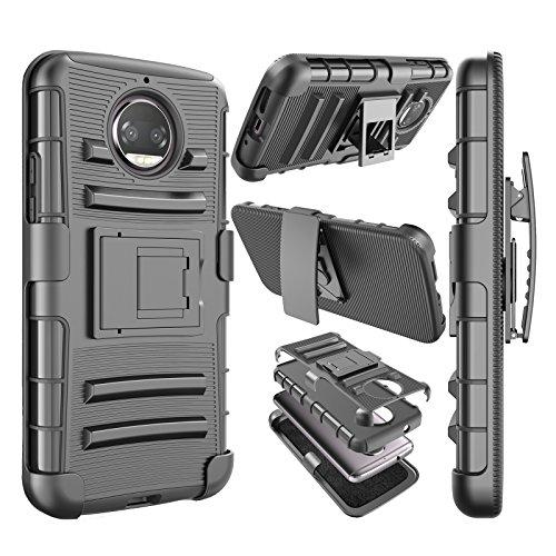 Njjex For Moto G5S Plus Case, For Moto G5S Plus Belt,[Ngate] Armor Shock Swivel Locking Holster Belt Clip Kickstand Heavy Duty Defender Full Body Carrying Cover For Motorola Moto G5S Plus 2017 [Black]
