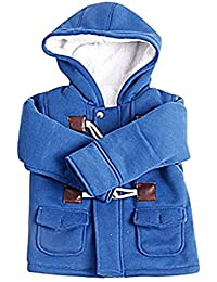 Kids Baby Boys Winter Cotton Blend Hooded Duffle Coat Toggle Coat