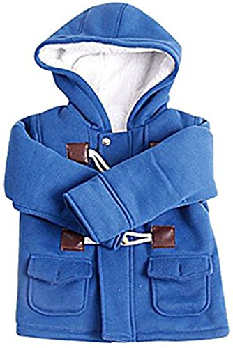JELEUON Kids Baby Boys Winter Cotton Blend Hooded Duffle Coat Toggle Coat 90cm Blue