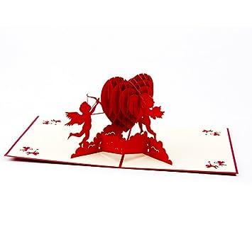 Cupid 3D Pop Up Greeting Card Handmade Gift For Birthday Wedding
