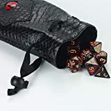 QIELIZI DND Dice Bag Pouch,PU Leather Dragon Dice