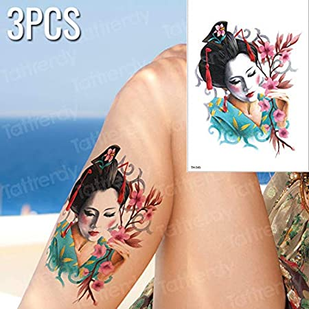 tzxdbh 3 unids/Lote Geisha Tatuaje Pintura Corporal Brazo Flor ...