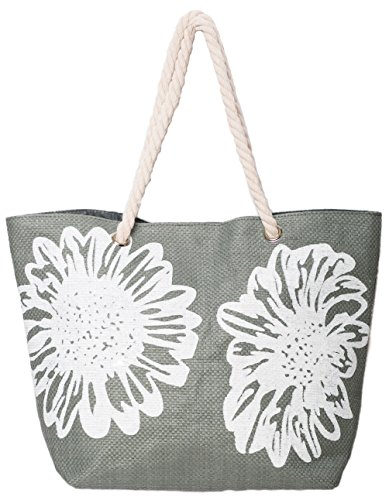 Beach Bag Tote Bags for Women Ladies Large Summer Shoulder Bag With Pocket Carrier Bag Flower (Gray)
