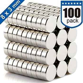 DIYMAG Refrigerator Magnets Premium Brushed Nickel Fridge Magnets, Office Magnets - 8 X 3 mm