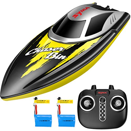 Remote Control Boat, SYMA Q7 Boats for Pools and Lakes with 2.4GHz 25km/h High Speed, Capsize Recovery, Low Battery Reminder, Special Water-Cooled System Toys for Kids Or Adults(Yellow)