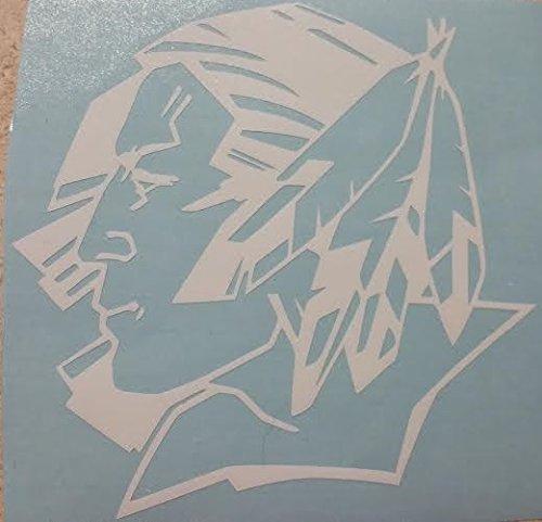 Fighting Sioux 5''x5'' White Vinyl Decals (white)]()
