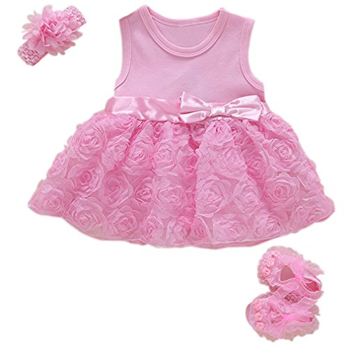 Niyage Baby Girls Clothes Dress Headband Shoes 3 Pcs Set Flowers Party Outfit Floral Dress-Pink 0-3 Months
