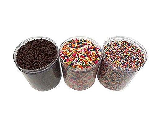 Assorted Ice Cream Sprinkles 1 lb bags (Rainbow Sprinkles, Chocolate Sprinkles, Rainbow Nonpareils) Bay Area Market Place Tote Bag included with Purchase by Bay Area Marketplace
