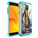 Galaxy j3 2018/J3 Achieve/Express Prime 3/j3 Star/J3 V 3rd Gen 2018/j3 Orbit case,Skyfree Heavy Duty Dual Layer Bumper Protective Phone Case for Samsung Galaxy J3 2018,Fishing Bass Mouth