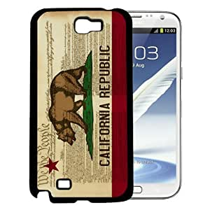 California State Flag with Light Brown Wood Texture Background Hard Snap on Phone Case Cover Samsung Galaxy Note 2 N7100