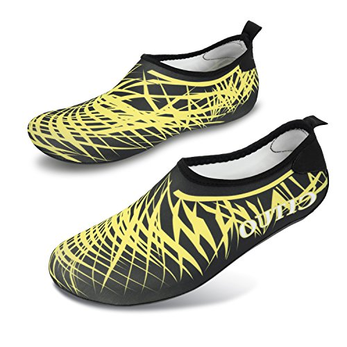 L-RUN Womens Barefoot Quick-Dry Water Shoes Aqua Sock For Swimming Surfing Yoga Black_white TjAzWX