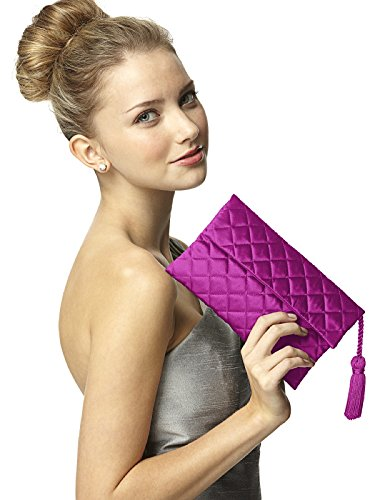 Women's Quilted Envelope Clutch Purse with Matching Tassel Detail by Dessy - Persian Plum - Plum Clutch