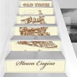 Stair Stickers Wall Stickers,6 PCS Self-adhesive,Steam Engine,Old Times Train Vintage Hand Drawn Iron Industrial Era Locomotive,Ivory Pale Caramel,Stair Riser Decal for Living Room, Hall, Kids Room De