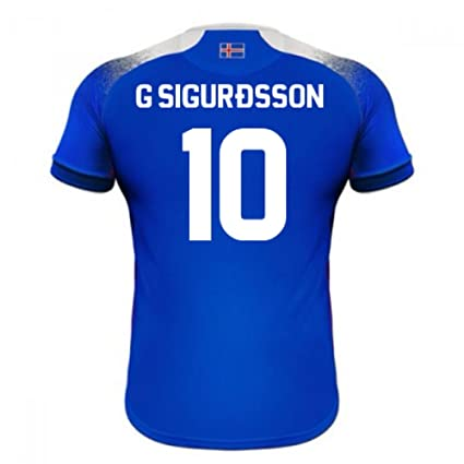 5025967aa92 Image Unavailable. Image not available for. Color  2018-2019 Iceland Home  Errea Football Soccer T-Shirt Jersey (Gylfi Sigurdsson 10