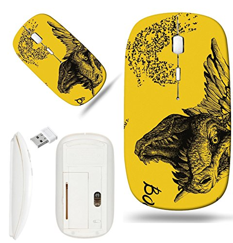 Luxlady Wireless Mouse White Base Travel 2.4G Wireless Mice with USB Receiver, 1000 DPI for notebook, pc, laptop, mac design IMAGE ID: 42024477 Trex Dinosaur halloween background Vector seamless backg