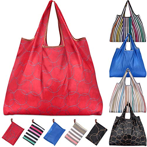 KINGMAS 5 Pack Reusable Grocery Bags, Eco-Friendly Folding Tote Shopping Bag fits in Pocket, Washable Waterproof Nylon holds Heavy Groceries Pouch Bags