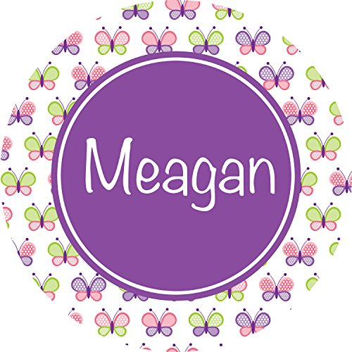 (Multicolored Butterflies with Purple Circle Personalized Melamine Plate)