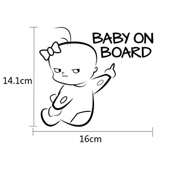 "BABY ON BOARD Vinyl Decal Sticker Car Window Wall Bumper Babies Warning 6/"" White"