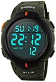 Fanmis Men's Simple Design Digital LCD Screen Black Rubber Strap Sports Wrist Watch (Army Green)