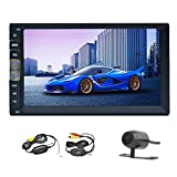 Double Din Bluetooth Car Stereo 7 inch Capacitive Touchscreen Universal Car Video with HD Rear View Camera FM Radio MP5 Player HD Touchscreen USB/TF Aux Input Bluetooth Handsfree Audio+Wireless Backup