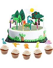 34 Pieces Cute Forest Dinosaur Cake Topper Decoration Set with Dinosaur Figurines Sun Cloud Cupcake Topper Insert Picks Trees Decor Candles Cake Supplies for Baby Shower Birthday Theme Party