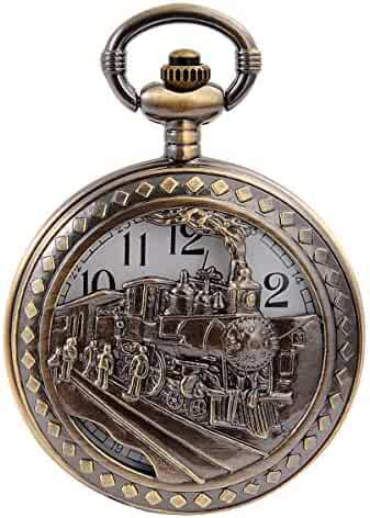 Vintage Bronze Steam Train Mens Kids Quartz Gift Pocket Watch with Chain