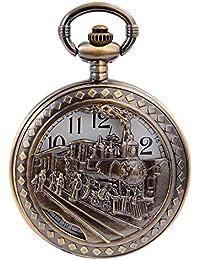 Vintage Bronze Steam Train Mens Kids Quartz Gift Pocket Watch with Chain