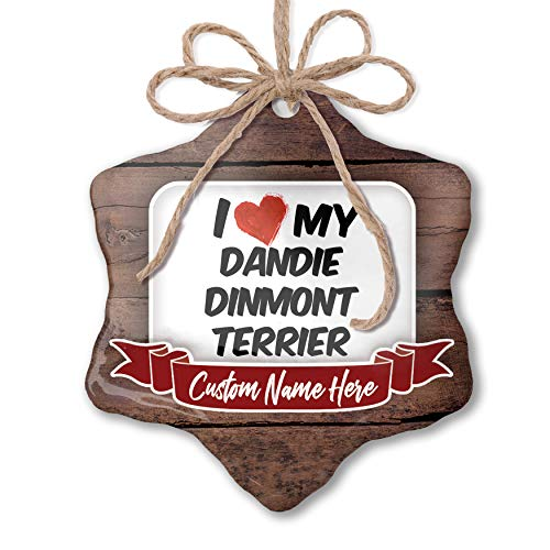 NEONBLOND Custom Family Ornament I Love My Dandie Dinmont Terrier Dog from Scotland Personalized Name