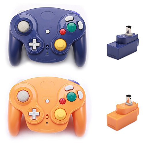 Poulep 2 Packs Classic 2.4G Wireless Controllers Gamepad with Receiver Adapter for Nintendo Wii U Gamecube NGC GC (Purple and Orange) ()