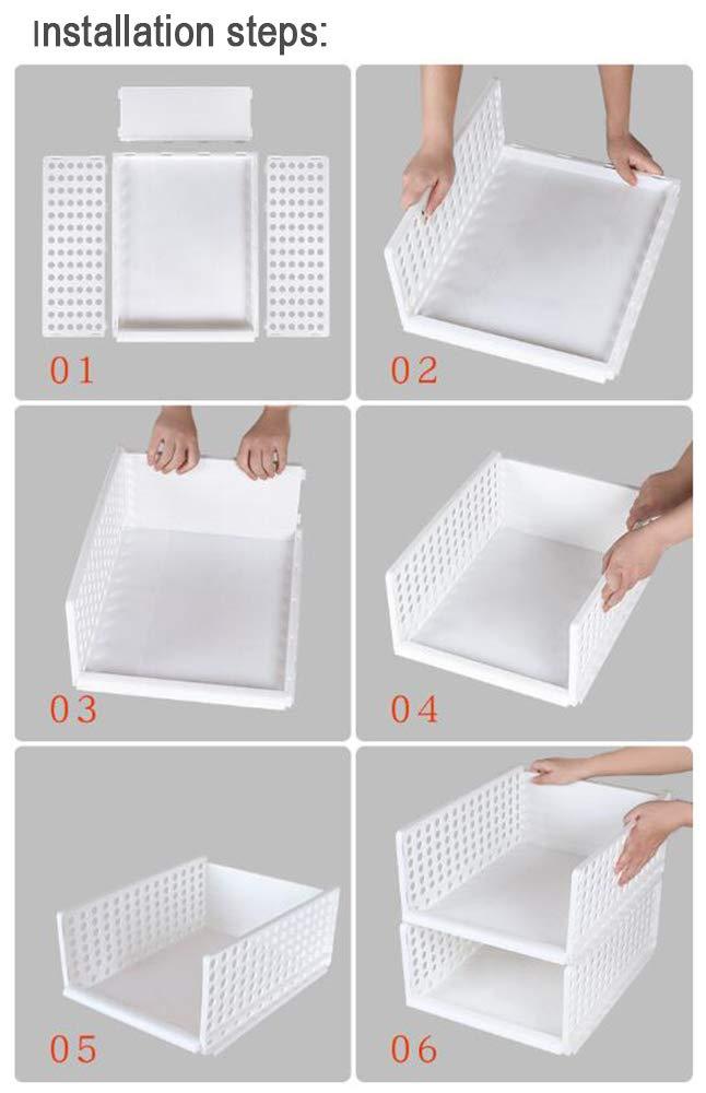 44cm*34cm*18cm M Wardrobe Storage Organiser Plastic Detachable Shelves Closet Storage Baskets Cube Drawers Storage Boxes Divider for Clothes Underwear Dressers