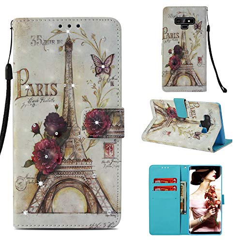 Galaxy Note 9 Diamond Case, Eiffel Tower Paris Pattern 3D Painted Crystal Folio Strap Wallet Case for Samsung Galaxy Note 9(2018 Release) ()