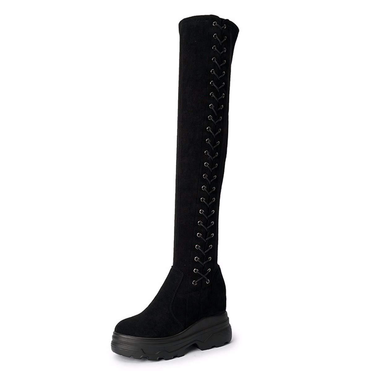 LBTSQ Damenschuhe - Knie Hohe Stiefel Heel 8 cm Schnallen Dicke Hintern Stiefel 100 Sätze Wildleder Slim Elastische Stiefel