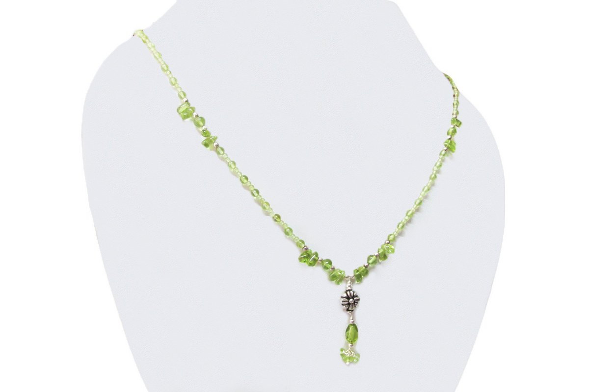 Natural Green Peridot Beads Necklace Strand finished with Sterling Silver accessories 16 Gemstone Handmade jewelry