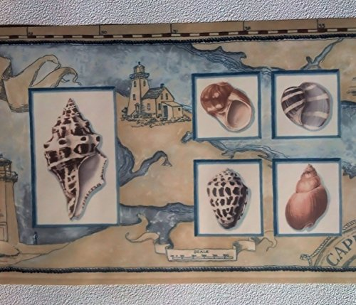 Nautical Sea Shell Wall Border - Beach Room Decor Wallpaper Roll