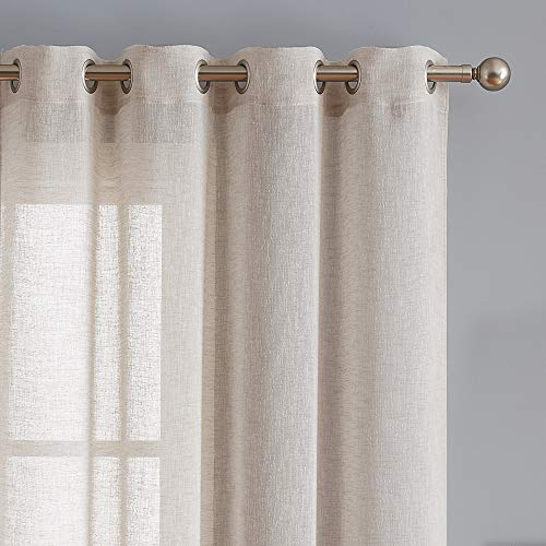 Fragrantex Flax Linen Sheer Window Curtains Bedroom 95