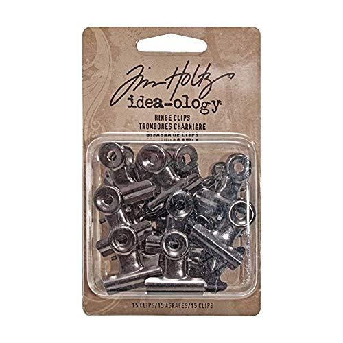 - Tim Holtz Idea-ology Hinge Clips, Antique Satin Nickel Finish, Pack of 15 Miniature Metal Bulldog Clips, 7/8 x 7/8 Inch, TH92692 (Limited Edition)
