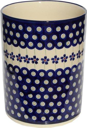 Polish Pottery Utensil Holder From Zaklady Ceramiczne Boleslawiec #832-166a Floral Peacock, High: 7