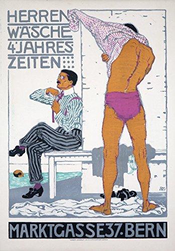 (Herrenwasche - 4 Jahreszeiten Vintage Poster (Artist: Mangold) Switzerland c. 1912 (12x18 Signed Print Master Art Print w/Certificate of Authenticity - Wall Decor Travel)